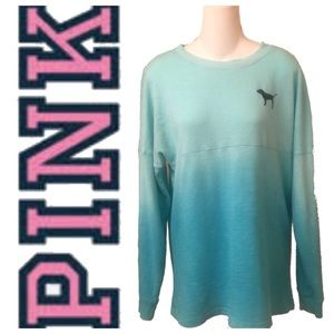 Pink Ombré Long Sleeve Tee Shirt Pullover Top
